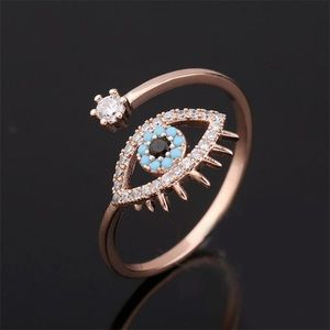 Rose Gold and CZ Evil Eye Ring